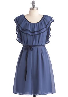 Date with Fate Dress - Mid-length, Boho, Blue, Ruffles, Trim, Party, Sheath / Shift, Cap Sleeves