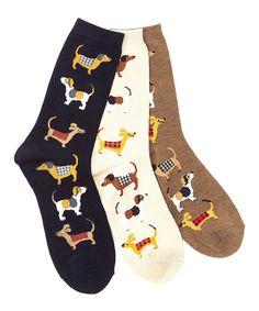 Davco Black, Cream & Brown Stacked Dogs Three-Pair Socks Set by Davco #zulily #zulilyfinds