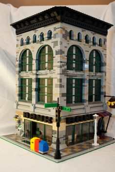 """Custom bank building in Lego """"Main Street style"""". Admired..."""