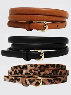 ASOS Leopard Hip and High Waist Belt In 3 Pack in Multi