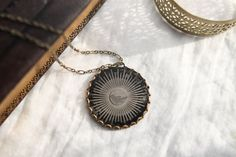 "Ambrotype, Clear Glass Photo Pendant ""Sunburst and Bird"", Original Wet Plate Collodion Necklace"