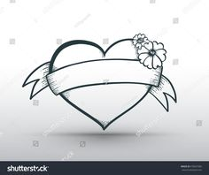 Heart banner drawn for love concept valentine and wedding card. Vector illustration.