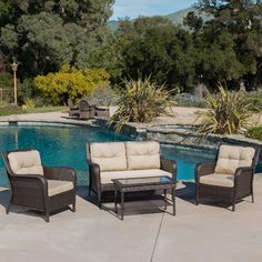 Home Loft Concepts Savona 4 Piece Seating Group with Beige Cushions & Reviews | Wayfair