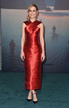 Brie Larson Wore a Red Oscar de la Renta Gown in Honor of International Women's Day | Fashionista