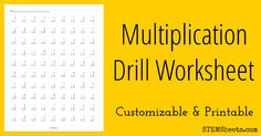 Customizable and printable multiplication drill worksheets with up to 100 problems on each. Include multiplication facts for number ranges between 0 to 14. Includes a matching answer key.
