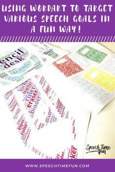 Using WordArt To Target Various Speech Goals in A FUN way!