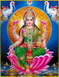 Here are some pictures of Hindu Goddess of Wealth - Goddess Lakshmi . Mahalakshmi Devi is the wife of Lord Vishnu and worshipping the godd. Shiva Parvati Images, Lakshmi Images, Radha Krishna Pictures, Shiva Shakti, Indian Goddess, Goddess Lakshmi, Indiana, Lord Murugan Wallpapers, Tanjore Painting