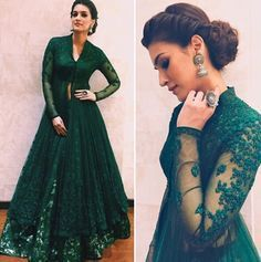 email sajsacouture@gmail.com for this one of a kind jungle green lengha