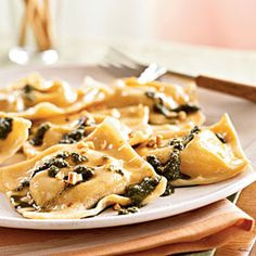 Chickpea Ravioli with Basil Pesto and Hazelnuts Recipe | MyRecipes.com Mobile