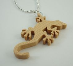 Gecko Lizard Necklace Maple Pendant Hand Cut Scroll Saw