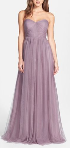 Jenny Yoo Annabelle Convertible Tulle Column Dress - Ethereal tulle overlays a wispy strapless gown designed with long panels that can be artfully wrapped and tied over the bodice to create more elegant looks. Strapless Dress Formal, Prom Dresses, Formal Dresses, Wedding Dresses, Ball Dresses, Ball Gowns, Lavender Bridesmaid Dresses, Wedding Bridesmaids, Column Dress