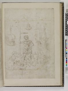 'The Florentine Picture-Chronicle' page from the album (recto of 1889,0527.28): Jupiter standing on Crete with ships on the sea behind him, the landscape continued from the left-hand page of the opening (1889,0527.26) Pen and brown ink (two shades) and brown wash over black chalk