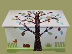Custom Designed Owl Toy Box by originalsbybarbmazur on Etsy Kids Furniture, Painted Furniture, Painted Boxes, Hand Painted, Princess Toys, Owl Tree, Toy Boxes, Decoration, Toy Chest