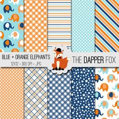 Blue and Orange Baby Elephant Digital Paper by TheDapperFoxScraps