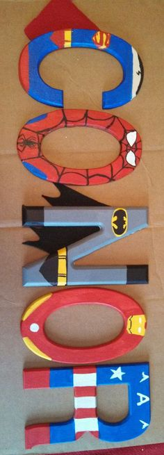 Handpainted tall wood letters by TheHandpaintedHero on Etsy Spell out your favorite word used in your Superhero Theme. Superhero Room, Superhero Letters, Superhero Capes, Crafts For Kids, Diy Crafts, Wood Letters, Painted Letters, Kids Bedroom, Bedroom Ideas