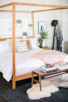 Hang succulents from your canopy bed.