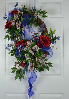 Patriotic Summer Front Door Wreath. Deco Mesh with silks, getting the best of both worlds by Gaslight Floral Design. GaslightFloralDesign.com