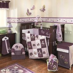 Pink and Purple Butterfly Bug 6pc Floral Infant Baby Girl Nursery Bedding Set | eBay