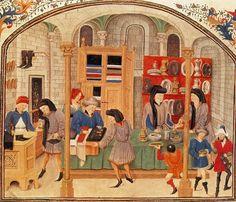 Market scene, 15th century, Manuscript, Bibliothèque Municipale, Rouen