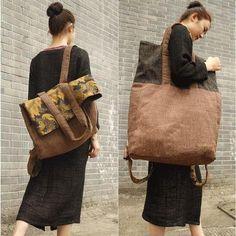 Large Casual Canvas Backpack / Shoulder Bag