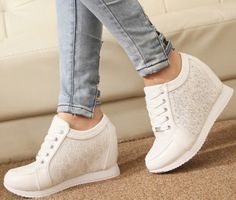 Wholesale OP Platform Shoes Women Sneakers 2014 Running Sport High Quality Shoes Fashion Summer Leather High Top White Wedge Sneaker Mens Boots Moccasins From [. White Wedge Sneakers, White Wedges, Sneakers Mode, Pretty Shoes, Cute Shoes, Me Too Shoes, Nike Outfits, Fashion Boots, Sneakers Fashion