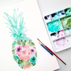 watercolor floral pineapple painting by Elise Engh