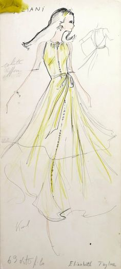 """Original fashion design sketch signed by Karl Lagerfeld, Elizabeth Taylor reference, from storage box labeled """"Karl Lagerfeld""""; Tiziani Arch..."""