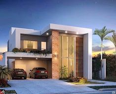 ideas house goals quotes home for 2019 Modern House Facades, Modern House Plans, House Front Design, Modern House Design, Residential Architecture, Architecture Design, Contemporary Architecture, 3d Home, Facade House