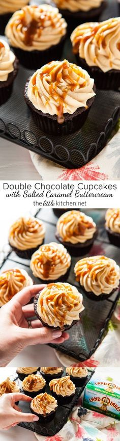 Double Chocolate Cupcakes with Salted Caramel Buttercream from http://thelittlekitchen.net