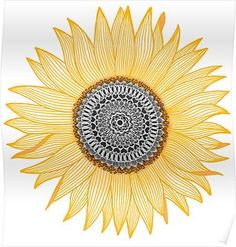 'Golden Mandala Sunflower' Art Print by paviash Mandala Tattoo Design, Mandala Art, Dotwork Tattoo Mandala, Mandalas Painting, Mandala Drawing, Tattoo Designs, Sunflower Art, Sunflower Tattoos, Sunflower Mandala Tattoo