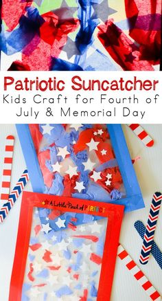 Patriotic Suncatcher Kids Craft for Fourth of July & Memorial Day - very easy craft for kids!