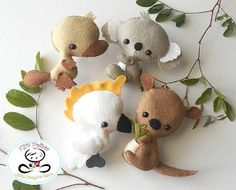 Sewing Stuffed Animals Australian Animals set of Four-PDF sewing pattern-Cockatoo-Kangaroo-Koala-Platypus-Felt ornaments-Animals-Nursery decor-Baby's mobile toy - Sewing Toys, Sewing Crafts, Sewing Projects, Animal Projects, Animal Crafts, Craft Patterns, Pdf Sewing Patterns, Very Cute Baby, Sewing Stuffed Animals
