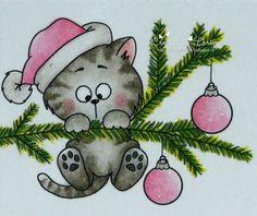 Car-D-elicious: Gerda Steiner designs - Dear Santa, I can explain. Christmas Topper, Christmas Rock, Christmas Applique, Christmas Cats, Christmas Colors, Christmas Ornaments, Christmas Doodles, Christmas Drawing, Christmas Paintings