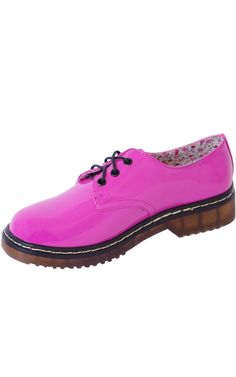 Hot Pink Patent Retro Military Punk Lace Up Ankle Shoes   Price: £14.99 http://www.riskyfashions.com/p/Hot-Pink-Patent--Retro-Military-Punk-Lace-Up-Ankle-Shoes_99.html