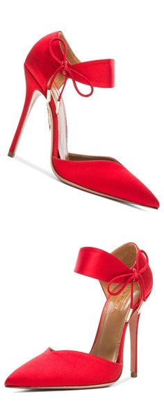 Aquazzura Satin Heels F/W 2015 women's slippers - http://amzn.to/2ikL0vs