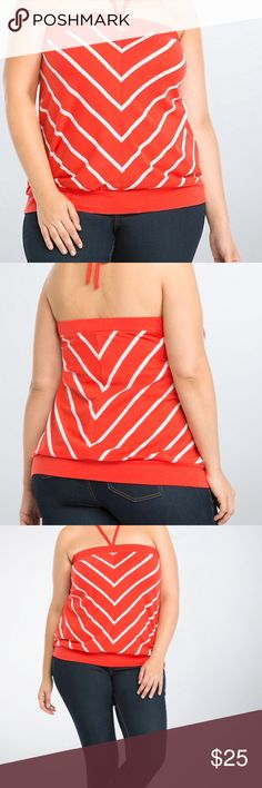 Striped Tube Top TORRID SIZE 5 5X 28 It's a cruel summer; don't be left on your own without a tube top! Cut with a breezy orange knit and lined with eye-catching white stripes, the style can be tied into a makeshift halter; either way, your shoulders will stay sun-kissed. TORRID SIZE 5. torrid Tops Tunics