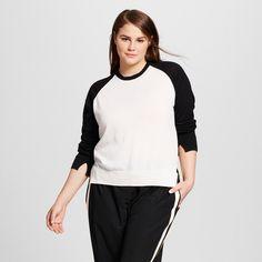 Women's Plus Size High Slit Crew Sweater White/Black 3X - Who What Wear