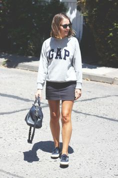 holidays summer outfit: Gap sweatshirt, American Apparel skirt, Superga sneakers, Sofia Coppola for Louis Vuitton handbag Converse Outfits, Skirt Outfits, Casual Outfits, Fashion Outfits, Gap Outfits, Superga Outfit, Superga Sneakers, American Apparel Rock, Denim Mini Skirt