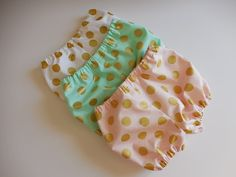 Gold polka dot baby infant decorative diaper cover bloomers Michael Miller glitz metallic dots pink white green