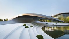 Porsche Pavilion, Porsche, HENN Architects, futurist architecture, Volkswagen, Germany, Volkswagen's theme park