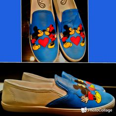 Mickey and Minnie Mouse - hand painted shoes