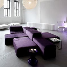 plum velvet modular lounge units - these can arranged separately or as in the suggested configuration shown.