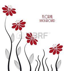 siluetas de flores sobre un fondo blanco Foto de archivo