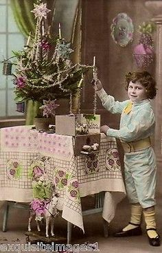 French Christmas Real Photo~Decorated Christmas Tree~Toy Horse~Child~Hand Tinted pack NEW Matte Vintage Picture Large Blank Note Cards with Envelopes Christmas Tree Images, French Christmas, Vintage Christmas Images, Christmas Tree Toy, Merry Christmas To All, Pink Christmas, Christmas Pictures, Christmas Tree Decorations, Christmas Holidays