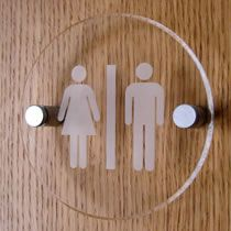 Acrylic Information Sign shown – 11 x 11cm circular unisex toilet sign – clear with white logo. Please see our full range on the 'Information Signs' page.