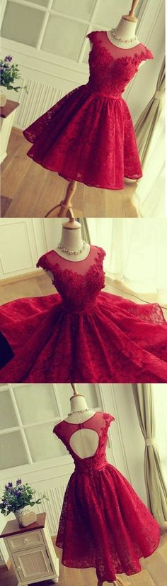 Keyhole Back Red Lace Bridesmaid dress,Short Lace Prom Dress,Red Cocktail Dress,Cap Sleeves Formal Party Dress,Red Lace Homecoming Dresses by DestinyDress, $166.73 USD