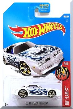 "White, w/Blue interior, Dark Blue & Blue Flames on Sides & Hood. Blue, Dark Blue & Black ""Screaming Chicken"" on Hood. Blue ""Screaming Chicken"" on B-Pillars. Small Blue Hot Wheels Logo on Rear Fender, Black Malaysia Base, w/GoldChrPR5's. Only $5.59 with Free Shipping!"
