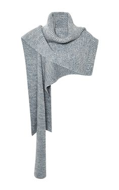 Blue Ribbed Pullover Scarf by THAKOON for Preorder on Moda Operandi