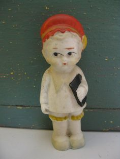 Vintage Bisque Frozen Charlotte Doll  With Book/Bag, Cute Hat, Made In Japan