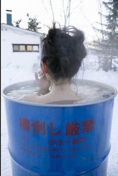 steam bath in the snow